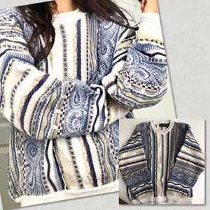 Vintage Grandpa Sweater Chunky Coogi-style Medium